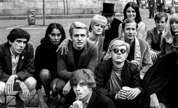 Andy Warhol with Group at Bus Stop, New York City, 1966